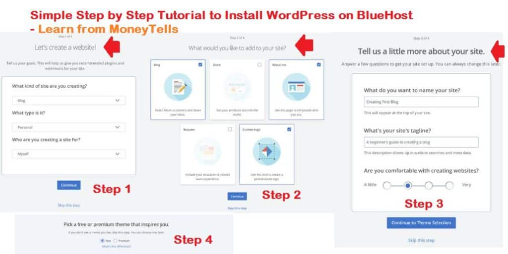 step by step to install wordpress on bluehost
