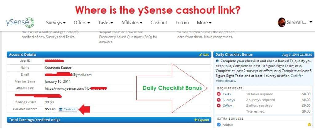 ySense Cashout Link & ySense Checklist Bonus