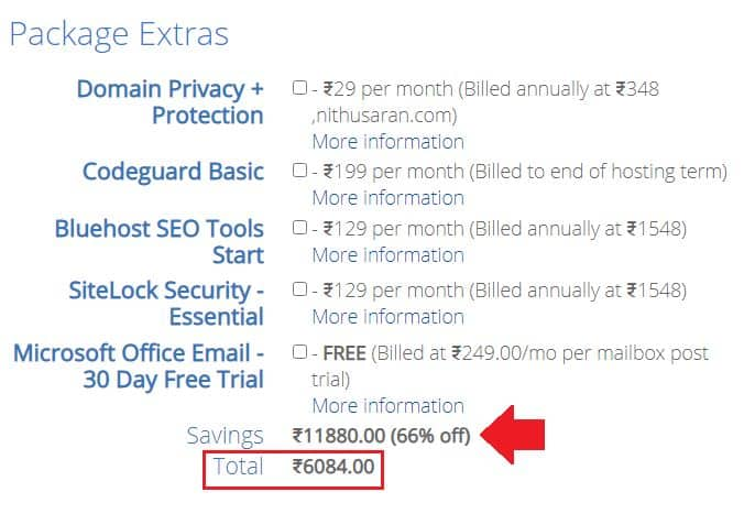 bluehost Extra packages