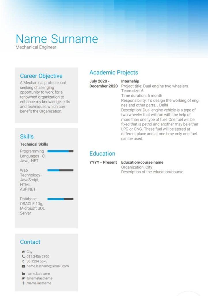 Example for fresher resume