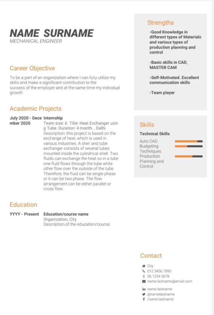 Resume for mechanical engineering students