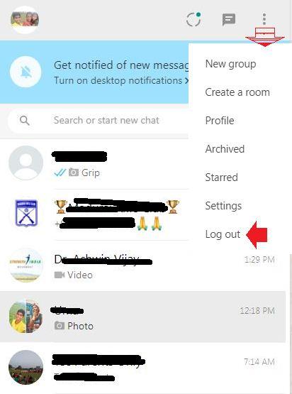 logout from whatsapp web client