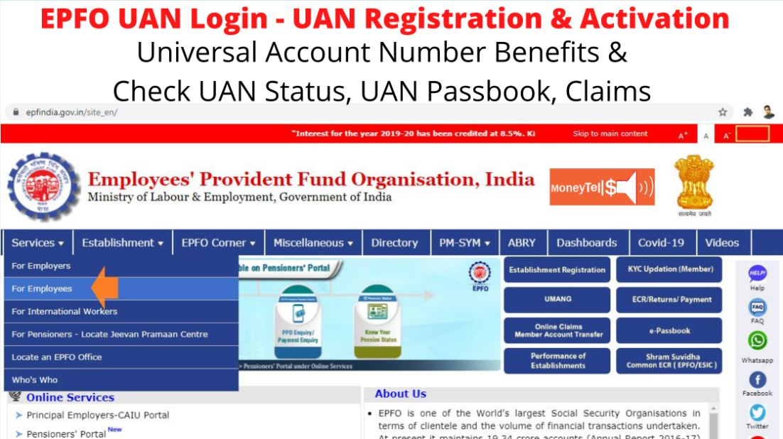 uan login for employees provident fund