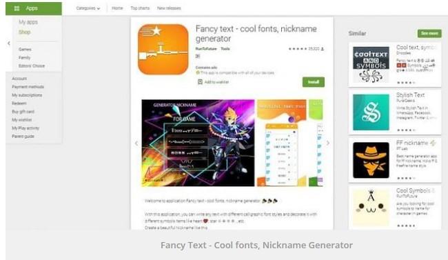 Fancy Text nickname generator